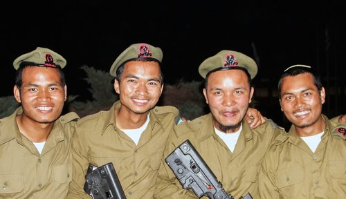 From left to right, Ben Gurion Kipgen, Binyamin Tungnung, Michael Sitlhou and Amos Pulamte, members of India's Bnei Menashe tribe who are joining the same IDF unit. Photo: Laura Ben-David / Shavei Israel.