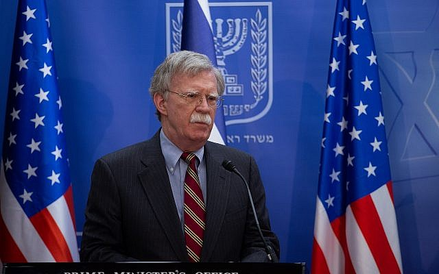 John Bolton at a joint press conference with Prime Minister Bnejamin Netanyahu in Jerusalem on August 20, 2018. (Ohad Zweigenberg/POOL)